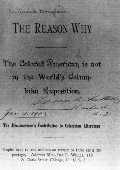the reason why the colored american is not in the world s columbian