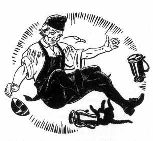 A man in a cap and apron falls dropping a bowl and tankard while a pitcher lodges on the head of the cat.
