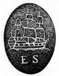 A pewter maker's mark showing a ship at full sail and the initials E and S.