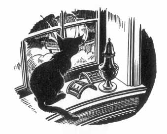 The cat sits on a windowsill looking out at a ship at full sail.