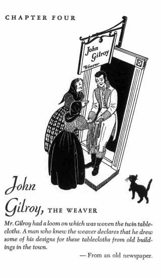 A man speaks to two woman at the door labeled John Gilroy Weaver while the cat walks towards them.