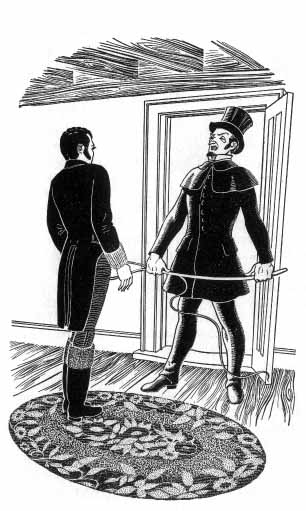 A man in top hat and coat holding a whip stands in a doorway speaking to another man.
