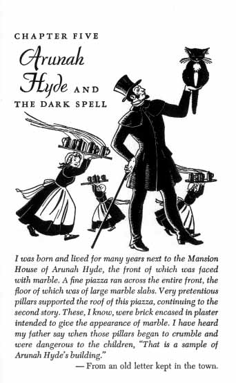 A man in top hat and coat holds a cat sitting up in his hand while maids hurry behind him carrying trays.