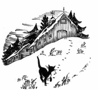 The blue cat walks through the snow away from a barn.