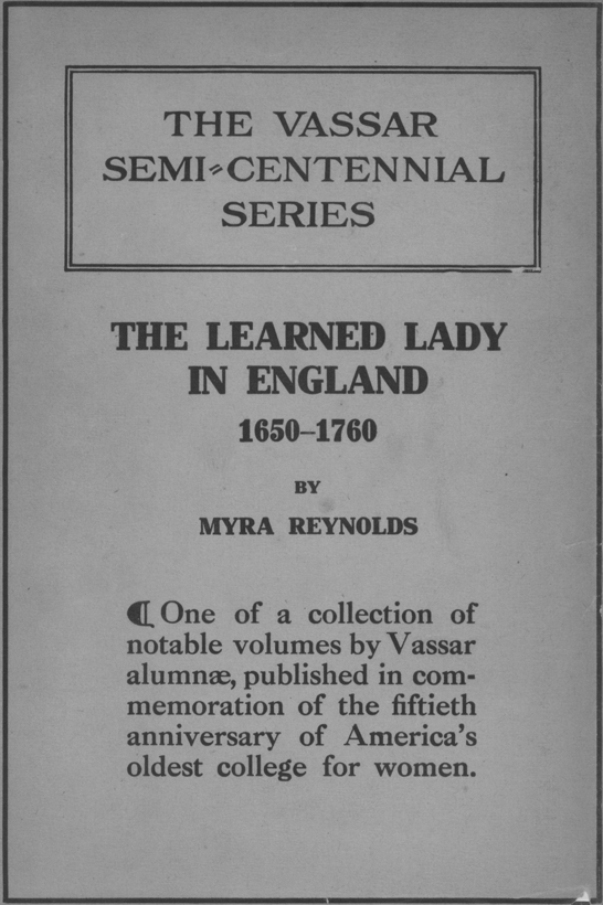 The Learned Lady in England 1650-1760